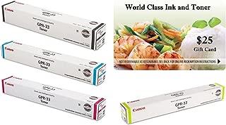 WCI© Best Value Pack® of All (4) Genuine Original Canon Brand GPR-33 Toner Cartridges + a FREE $25 Restaurant Gift Certificate (1 ea of BK/CY/MG/YE) For: ImageRunner Advance C7055/C7065/C7260/C7270.