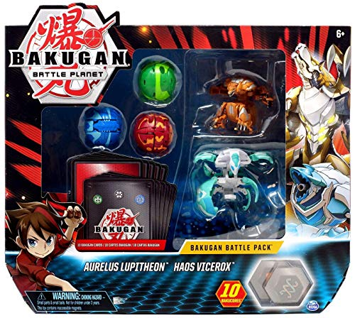 BAKUGAN 20115149 - Battle Pack mit 2 Ultra & 3 Basic Balls, Aurelus Lupitheon & Haos Vicerox