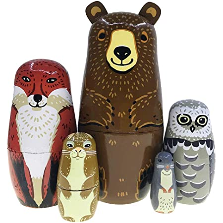 5Pcs Handmade Wooden Russian Nesting Dolls Cute Cartoon Animals Pattern Russian Nesting Doll Toys Gifts for Girls Boys Birthday or Home Decoration