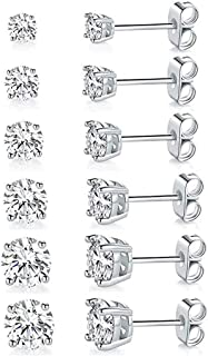 Women 18K White Gold Plated Clear Zirconia Stud Earring Pack of 6 Pairs