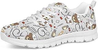 POLERO Zapatos Deportivos para Mujer, Zapatillas Planas con diseño de Osos, Zapatillas de Tenis con Cordones de Malla, Zap...