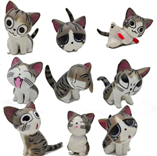 Kimkoala Chi Cat Toys, 9 Pcs Japanese Cute Chi`s Sweet Home Cats Dolls Animal Figures Collection Toy Set For Miniature Gar...