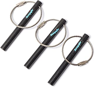 bayite Survival Drilled Ferrocerium Ferro Rod Flint Fire Starter Rods with Keychain Ring 3.14 Inch Pack of 3