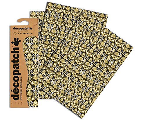 Decopatch–Papel de cerámica–negro/oro (Pack de 3hojas)