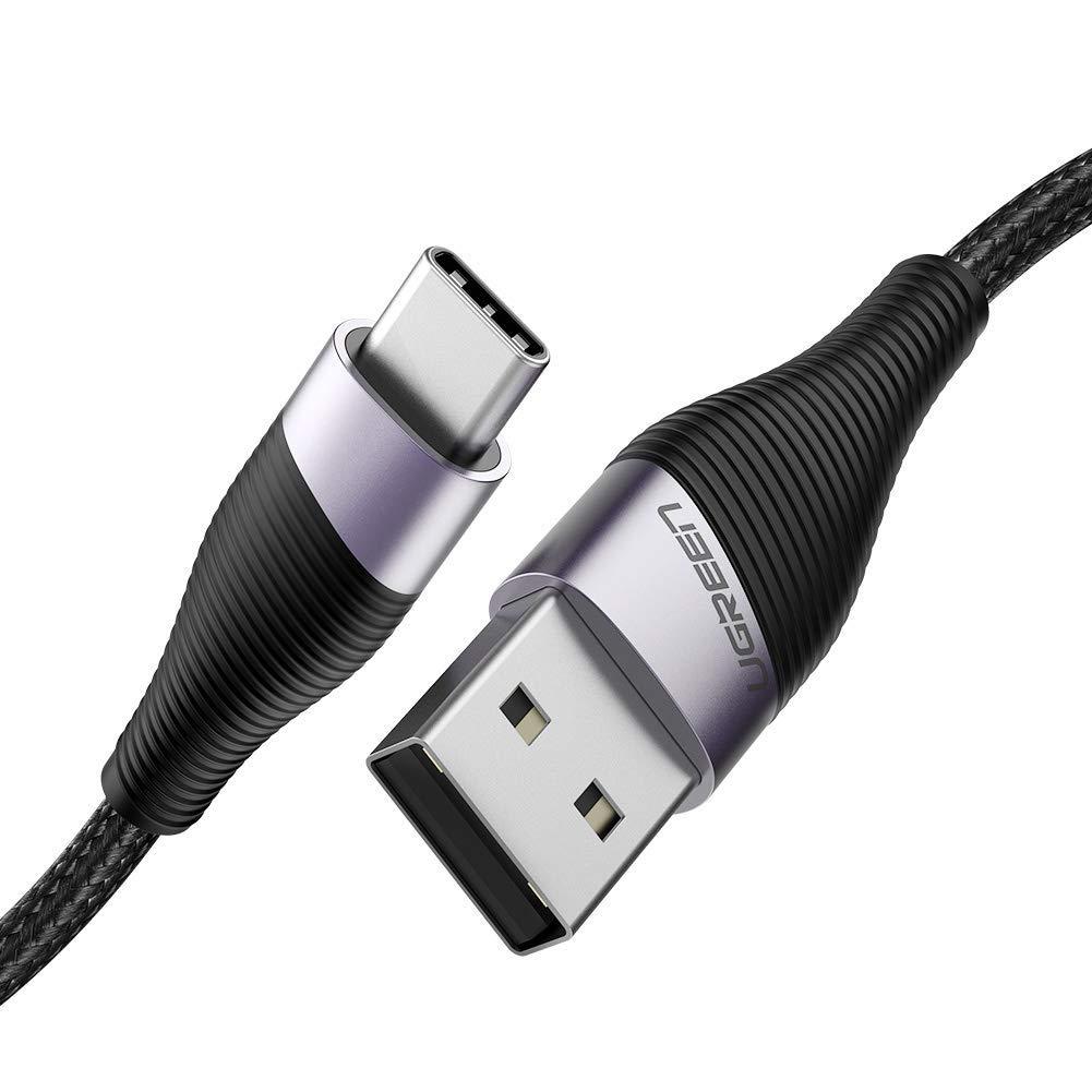 كيبل شحن سريع بمنفذ USB مصنع من النايلون المجدول بطول 2 متر متوافق مع هواوي بي 20 لايت مات وبرو بي 20 وجالكسي اس 10 واس 8، ونوت 9، وجوال ال جي جي 5 و جي 6، وشاومي مي ايه 2 مي 9 وغيرها