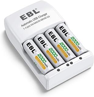 EBL 単三充電池充電器セット 4スロット充電器+単三2000mAh充電池 単三単四ニッケル水素充電池に対応 充電式電池・充電器パック