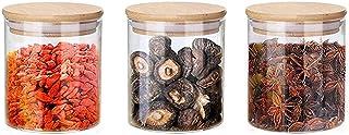 Annfly Lot de 3 bocaux en verre avec couvercles en bambou hermétiques pour la conservation de la confiture, des pâtes, des...