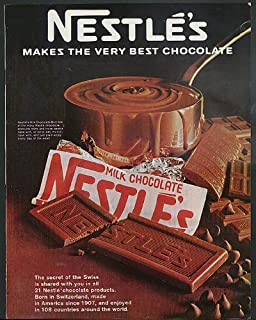 Nestle's Makes the Very Best Chocolate ad 1967 chocolate bar