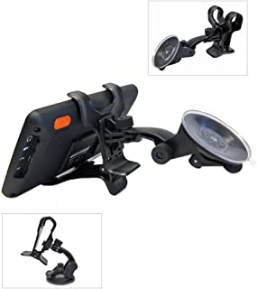 Ramtech Universal 360° Rotating Car Windshield Suction Mount Dual Clip Holder Bracket Stand For Magellan Roadmate 5270T-LMB / 5322-LM / 5230T-LM / 4250 / 5045-LM / 5220-LM GPS - WMDC