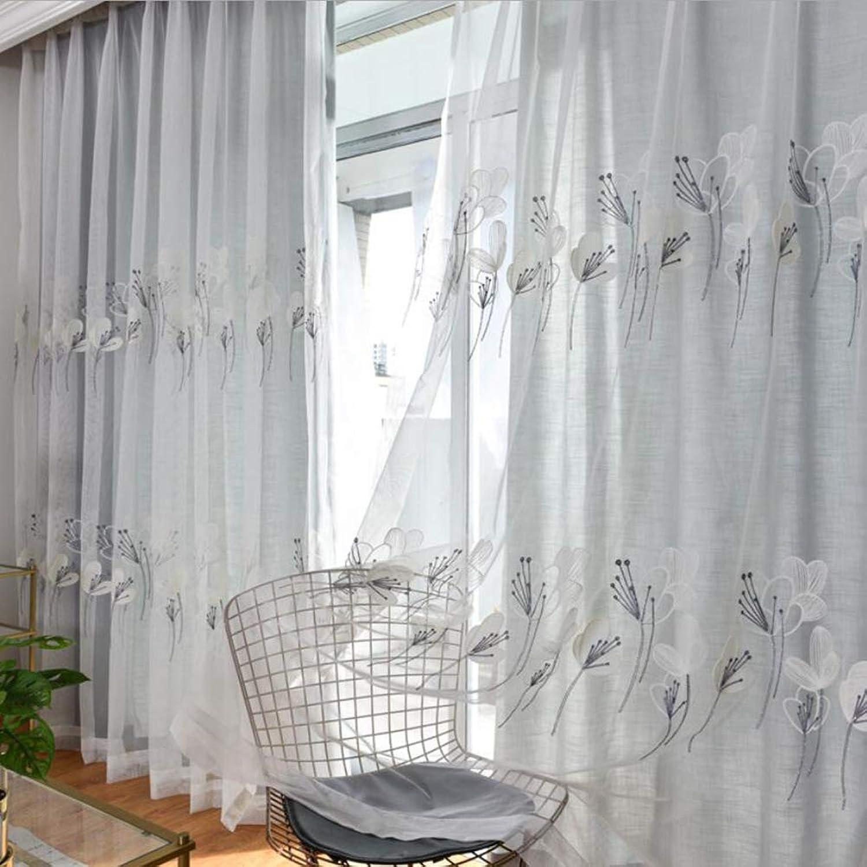 ZYY-Home curtain Bordado Cortinas Translúcidas Visillo Lino Habitaciones para Ventanas Dormitorios Salones Decoración Moderna para Hogar Cortina con Ojetes,Tulle,W120xL190cm1piece