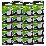 GP Lithium Knopfzellen CR2025 3V, Knopfbatterien CR 2025 Spannung 3 Volt für verschiedenste Geräte- und Verbraucheranwendungen, (20 Stück Batterien CR2025, einzeln entnehmbar)