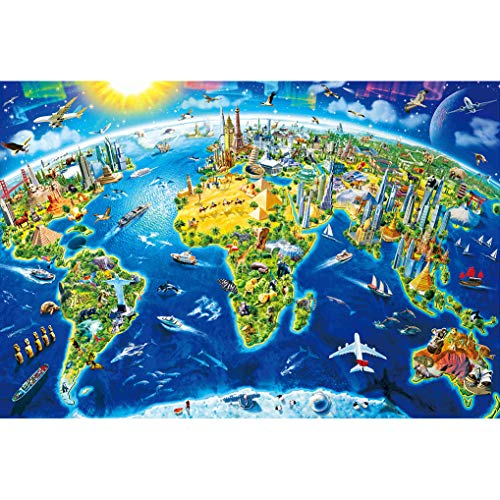 GuDoQi Puzzle 1000 Piezas Adultos Rompecabezas Mapa del Mundo Divertido para Infantiles Adolescentes