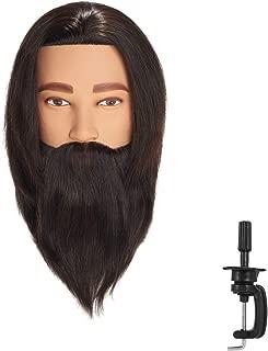 Hairingrid Male Mannequin Head 100% Human Hair Hairdresser Cosmetology Mannequin Manikin Training Head Hair and Free Clamp Holder (R72002LB0208A)