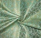 Puresilks Brokat-Stoff, Grün x Metallic Gold, 111,8 cm,