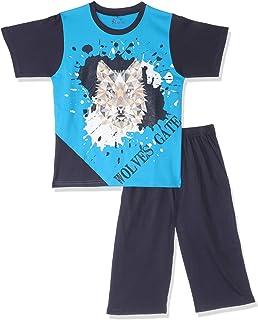 Jockey Wolf Print T-Shirt with Elastic-Waist Pants Cotton Pajama Set for Boys - Blue & Black, 9 Years