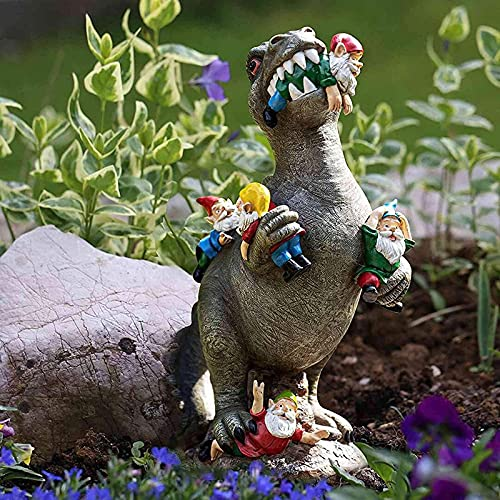 GUANJIAN Garden Gnome Statues Outdoor Decor, Funny Garden Statue, The Great Garden Gnome Massacre, Jurassic Dinosaur Eating Gnomes Garden Art, Garden Sculpture For Outdoor Home A