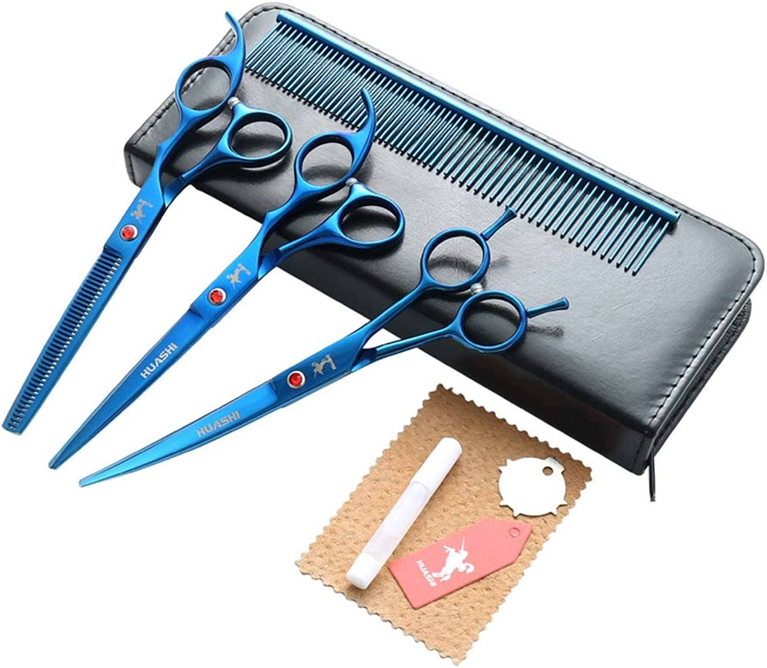 Dog Grooming Scissors Stainless Steel Cutting Thinning Curved Shears with Pet Grooming Comb Pet Hair Trimming Dog Scissors Set for Dogs and Cats, bluee