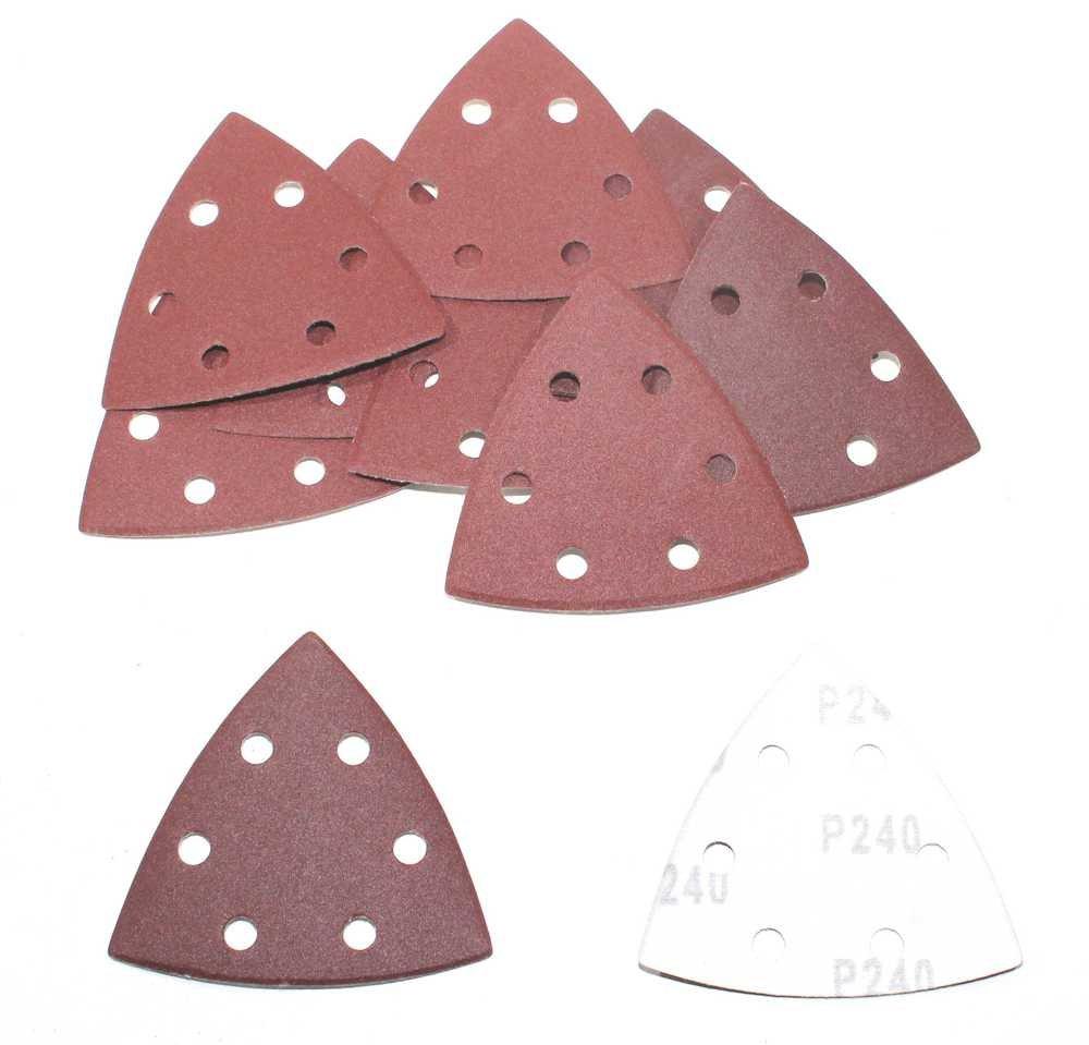 K240/Velcro Triangle Disques abrasifs 93/x 93/x 93/mm 6/Trous papier abrasif pour ponceuse Delta Plateau de pon/çage 50/BL