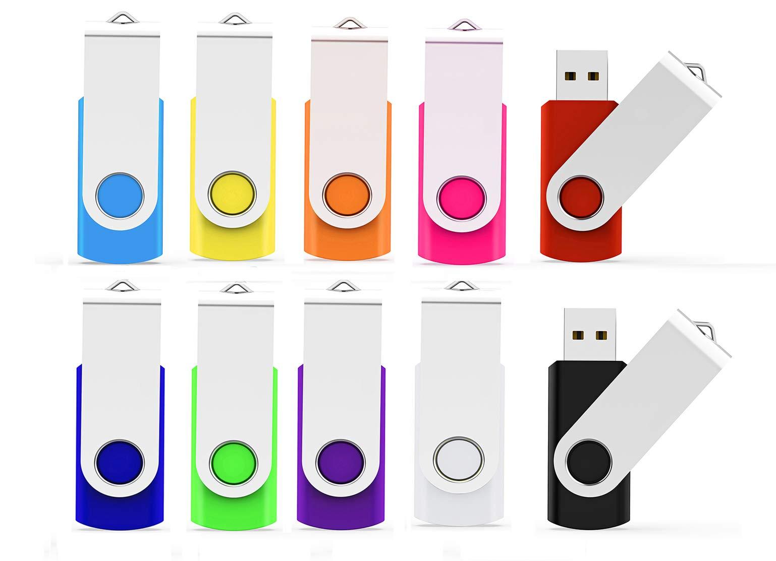 USB Flash Drive 32GB 10 Pack, Maspen USB Thumb Drive 2.0 High Speed USB Thumb Drive Memory Stick Jump Drive Zip Drives Pen Drive, 32 GB, 10 Colors