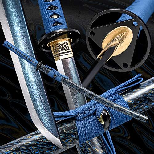 entez Handmade Katana,Samurai Katana Sword,Damascus Steel Katana,Full Tang, Sharp,Battle Ready