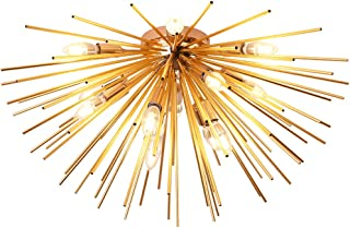 Jaycomey Sputnik Chandelier Light Fixtures,Mid-Century Gold Chandelier with 12 Lights,Semi Flush Mount Ceiling Light for Bedroom Living Dining Room,E12,Dia 29.5 Inch