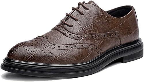 SRY-chaussures Richelieus Simples à Talon Plat pour Hommes (Couleur   Marron, Taille   44 EU)