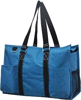 Crosshatch Turquoise NGIL Large Canvas Tote Bag