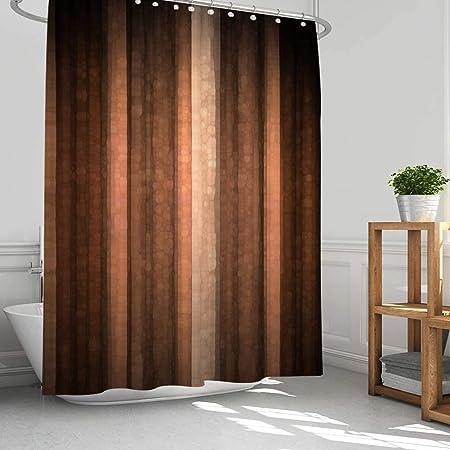 "AMBZEK Brown Earth Rust Shower Curtain Burnt Orange Copper Bathroom Decor Pale Tan Clay Brown Stripe Bathroom Accessories Vintage Gifts for Men Modern Artwork Fabric Shower Curtain Set 60"" Wx71 H"