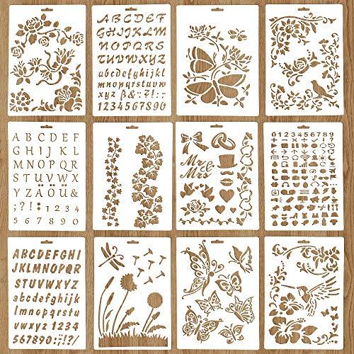 Plantillas para manualidades reutilizables, 12 piezas de plantillas de pintura para manualidades...