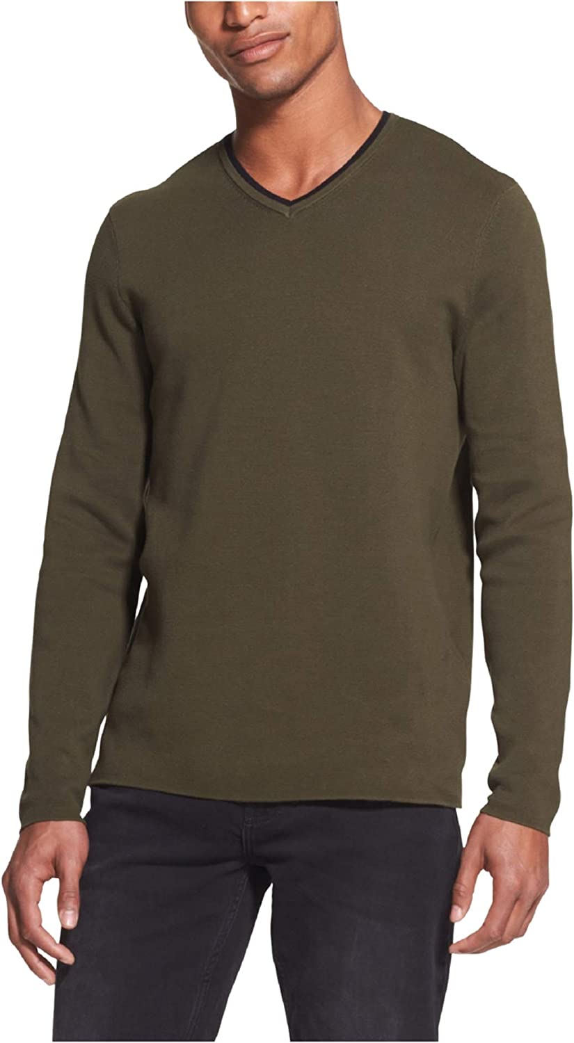 DKNY Mens V-Neck Pullover Sweater, Green, Large