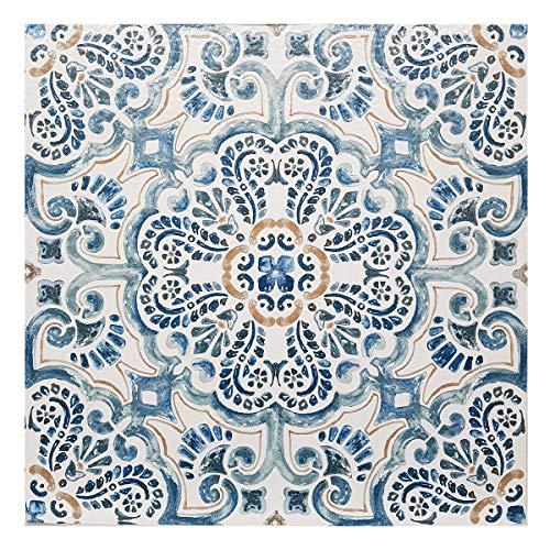 FloorPops Fontaine - Lote de 10 baldosas de vinilo autoadhesivas, diseño de flores, color azul