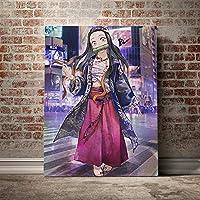 鬼滅の刃ファッションストリートトレンド絵画壁アートキャンバスリビングルームホームベッドルームスタディ寮デコレーションプリント/ 60x80cm(フレームなし)