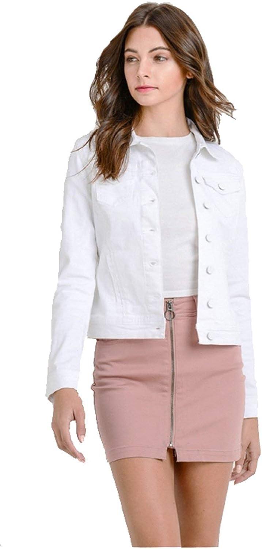 Khanomak Women's Classic Casual Long Sleeve Button Up Stretch Denim Jean Jacket