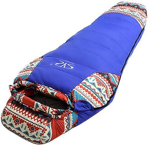 DENGDAI Sac de Couchage Momie, extérieur Ultra léger Camping comprimé Adulte Camping équipement,bleu