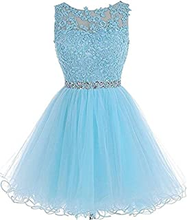 Women's Short Beaded Tulle Prom Evening Dress Cocktail Gown