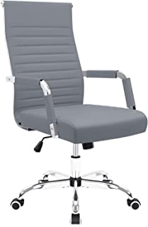 Furmax Ribbed Office Desk Chair Mid-Back PU Leather Executive Conference Task Chair Adjustable Swivel Chair with Arms (Grey)