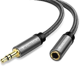 Audio Verlängerung,Victeck 3 Meter Nylon 3.5mm Stereo Klinken Verlängerungskabel für AUX Eingänge Buchse Vergoldete Kontakte Kompatibel mit Smartphones,Tablets, Beats Kopfhörer und Mehr(Schwarz)