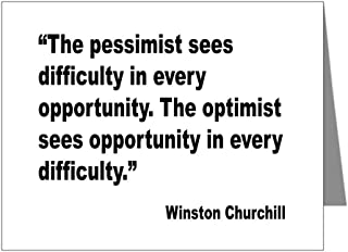 CafePress - Churchill Pessimist Optimist Quote Note Cards (Pk - Blank Note Cards (Pack of 20) Glossy