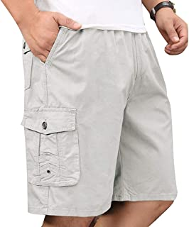 Men's Cotton Twill Full Elastic Waist Below Knee Drawstring Cargo Short