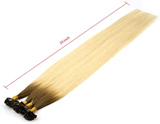 9A 24inch 25g Pre bonded Flat Tip Human Hair Extensions Straight Keratin Fusions Square Tip Hair (R8/60#)