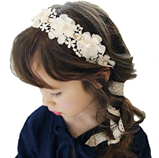 Laimew flor de encaje de boda diadema con cinta larga, vestido de princesa, accesorios para el cabello para niñas
