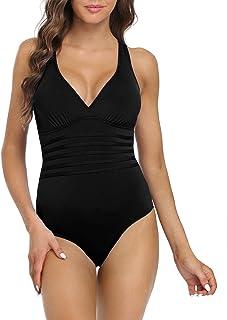 Hilor Women's One Piece Swimsuit Tummy Control Bathing Suits V Neck Swimwear Criss Cross Back
