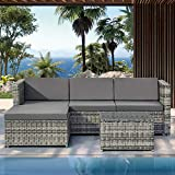 <span class='highlight'>Rattan</span> Outdoor <span class='highlight'>Garden</span> <span class='highlight'>Furniture</span> Set 4 Seater <span class='highlight'>Rattan</span> <span class='highlight'>Modular</span> Corner Sofa Lounge Set with Coffee Table and Stool Conservatory Patio Poolside L-Shaped Sofa Set (Grey <span class='highlight'>Rattan</span> with Dark Grey Cushions)