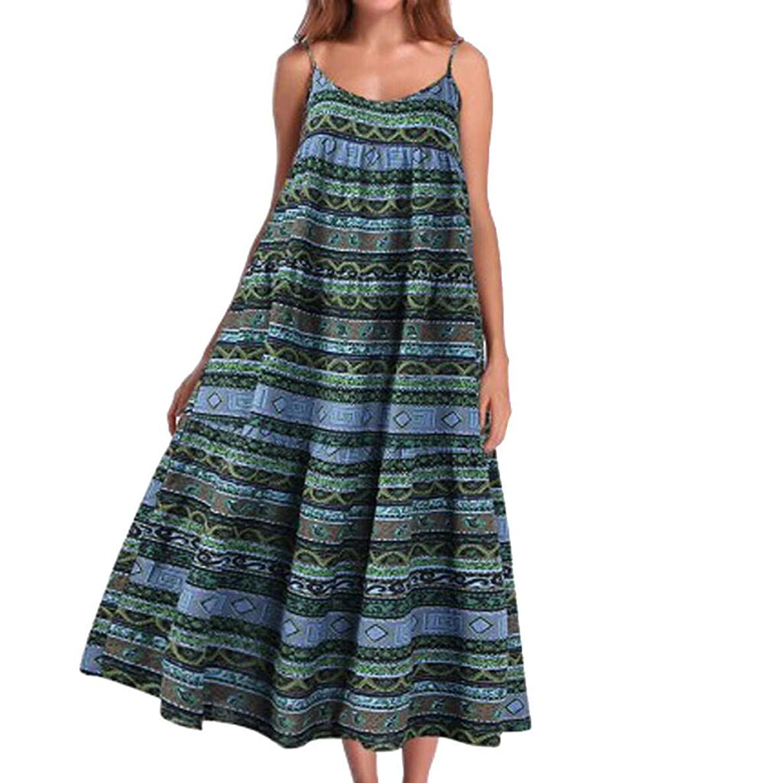 Zlolia Women's Patchwork Printed Bohemian Ethnic Style Dress Strap Deep V Open Back Straight Dress Summer Beach Midi Skirt
