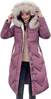 QIQIU Womens Thicker Warm Faux Fur Hooded Slim Down Long Jacket Solid Casual Winter Plus Size Coat Overcoat