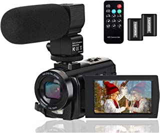 Video Camera Camcorder Digital YouTube Vlogging Camera Recorder FHD 1080P 24.0MP 3.0 Inch 270 Degree Rotation Screen 16X Digital Zoom Camcorder with Microphone,Remote Control and 2 Batteries