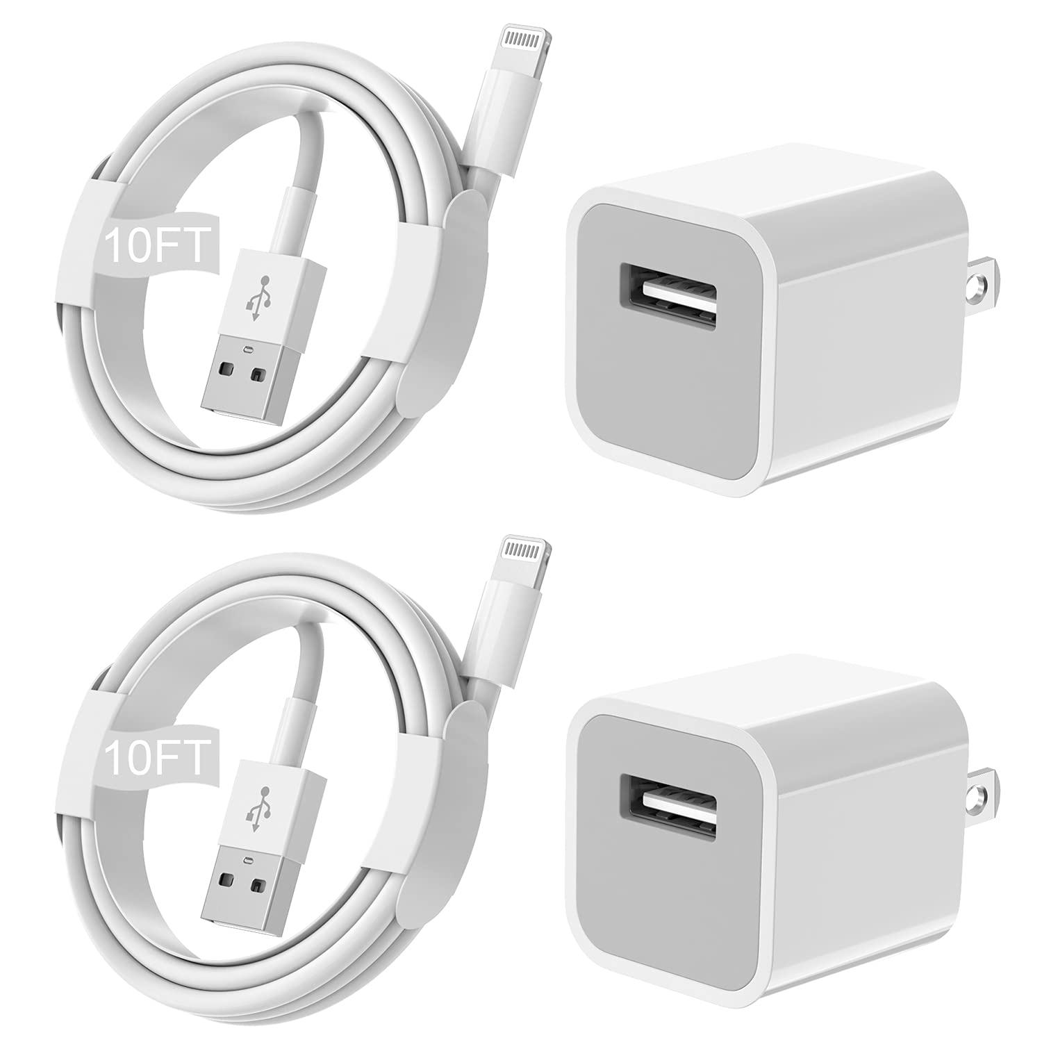 iPhone Charger [Apple MFi Certified] Long 2 pack 10FT Lightning Cable Cube iPhone Charging Transfer Cord with USB Plug Wall Charger Block Travel Adapter for iPhone 12/11/11 Pro Max/SE 2020/Xs Max/XR/X
