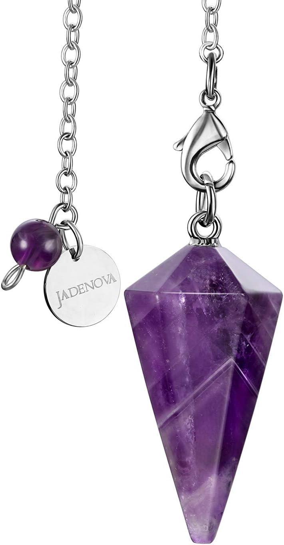 JADENOVA Pendulum Crystal Necklace Natural Amethyst Crystal Pendulums for Divination Dowsing Quartz Pendulum Chakra Reiki Healing Jewelry for Women Men