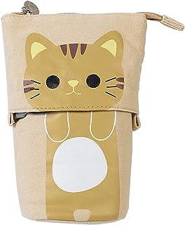 Fenteer Transformer Stand Pencil Storage Holder Canvas Cute Pencil Case Zipper Cat Pencil Bag Boys&Girls School Supplies G...