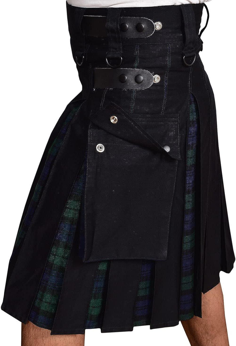 UFS Kilts-Men's Max 57% OFF Max 42% OFF Plus Size Scottish Hybrid Cotton Tartan Black
